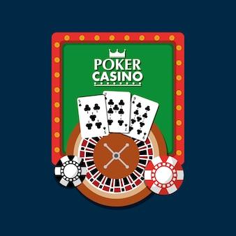 Poker casino bord licht club gokken roulette kaarten chip