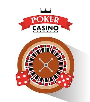 Poker casino dobbelsteen en roulette wiel weddenschapsspel