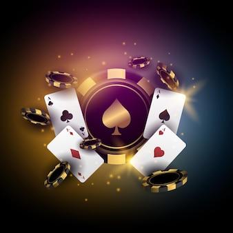 Poker casino met speelkaart en chips