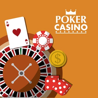 Poker casino roulette wiel dobbelstenen geld card chip