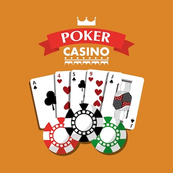 Poker casino speelkaarten combinatie chips banner