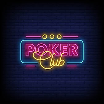 Poker club neon signs stijl tekst