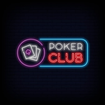 Poker club neon teken uithangbord effect