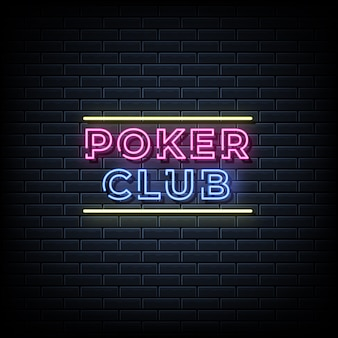 Poker club neon tekst, neon stijlsjabloon