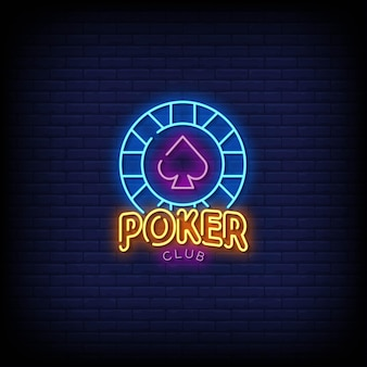 Poker club neonreclames stijl tekst