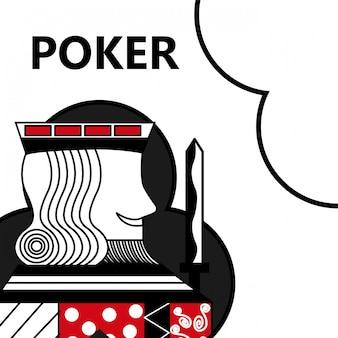 Poker kaart gokken koning met zwaard in teken clubs