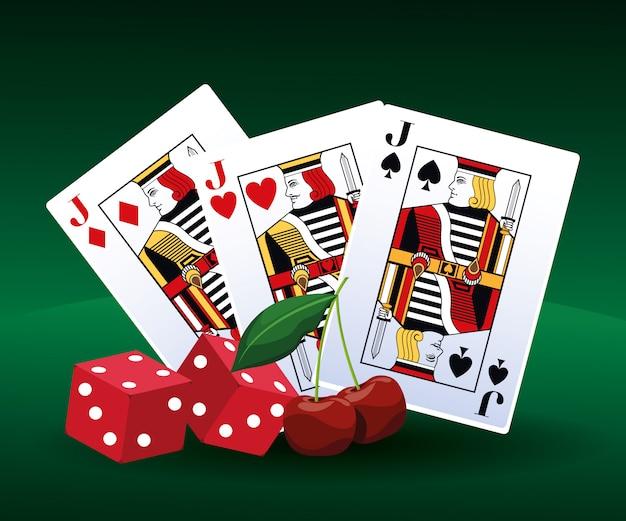 Poker kaarten dobbelstenen en kersen gokspel casino