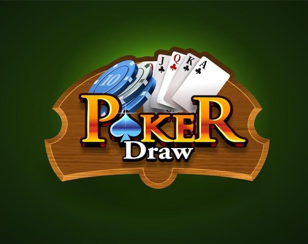 Poker-logo op een houten bord en een groene geïsoleerde achtergrond. kaartspel. casino spel