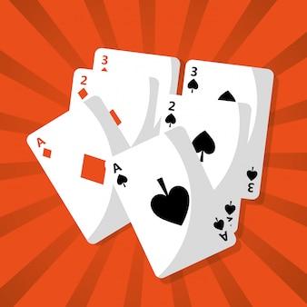 Poker speelkaarten dek gevaar kans
