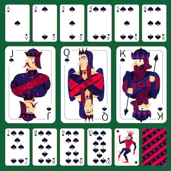 Poker speelkaarten schoppen pak set