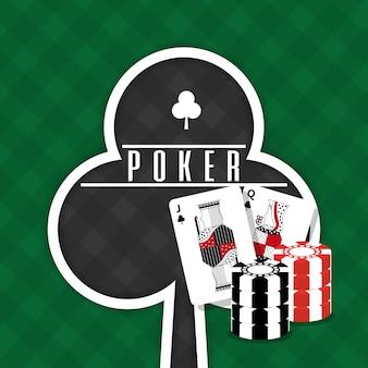 Poker teken club kaarten en chips gokken groene achtergrond