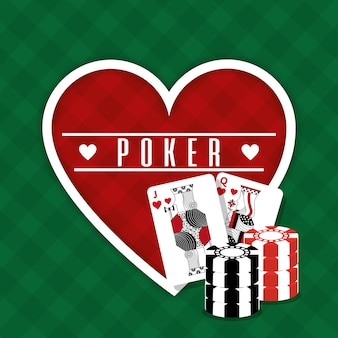 Poker teken hart kaarten en chips gokken groene achtergrond