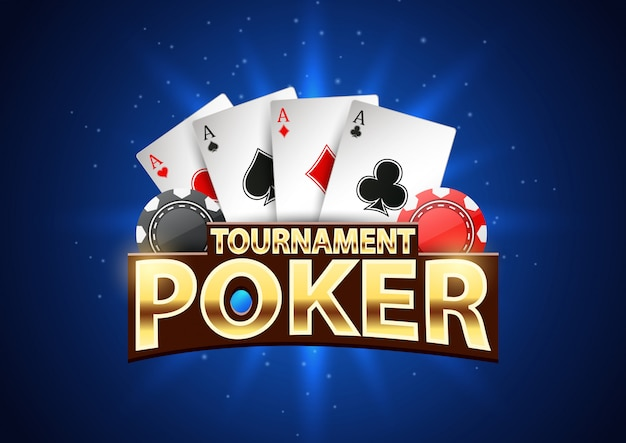 Poker toernooi banner met chips en speelkaarten.