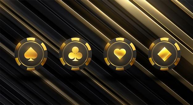 Pokerchips in verschillende posities. zwarte chips geïsoleerd op een lichte achtergrond. illustratie.