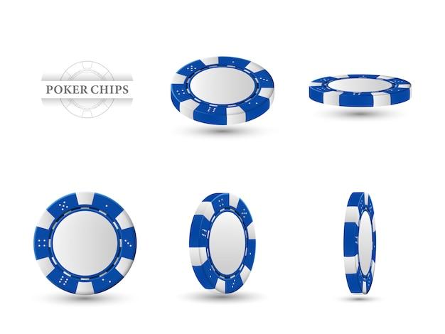 Pokerchips in verschillende posities.