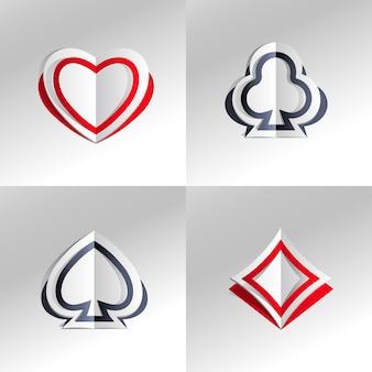 Pokerkaart papieren symbolen op grijs