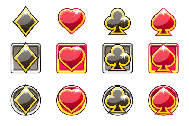 Pokersymbolen van speelkaarten in rood en zwart, app-pictogrammen voor ui