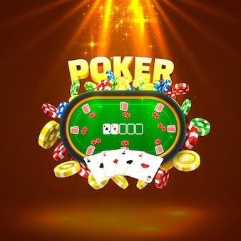 Pokertafel met de kaarten en chips op een gouden achtergrond. vector illustratie