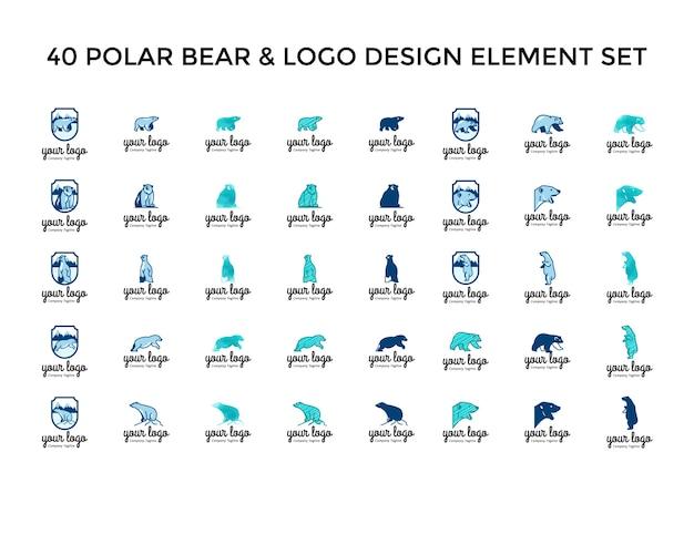 Polar bear icon logo design set