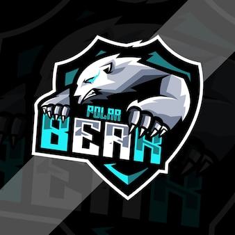 Polar bear mascotte logo ontwerpsjabloon esports