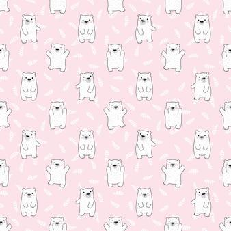 Polar bear naadloze patroon blad laat stripfiguur