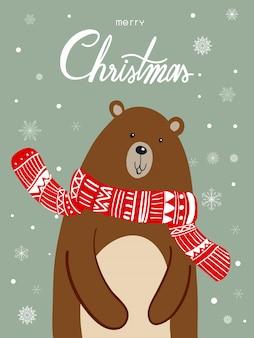 Polar bear scarf cartoon met kerstfestival