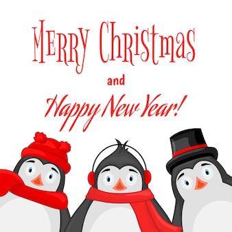 Polar pinguïn winter koptelefoon, pet, muts en sjaal. briefkaart voor het nieuwe jaar en kerstmis.