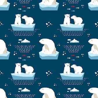 Polar teddybeer naadloze patroon