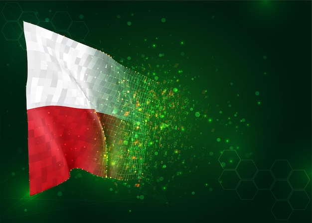 Polen, 3d vlag op groene achtergrond met polygonengon