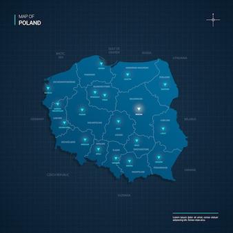Polen kaart met blauwe neonlichtpunten