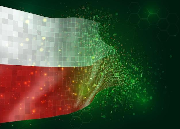 Polen, op vector 3d-vlag op groene achtergrond met veelhoeken en gegevensnummers