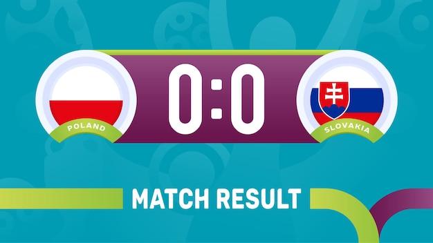 Polen, slowakije wedstrijdresultaat, europees voetbalkampioenschap 2020 illustratie.