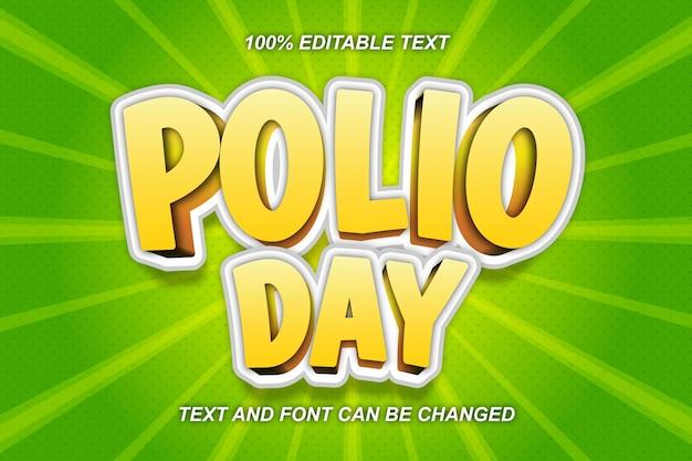 Polio day bewerkbare teksteffect komische stijl