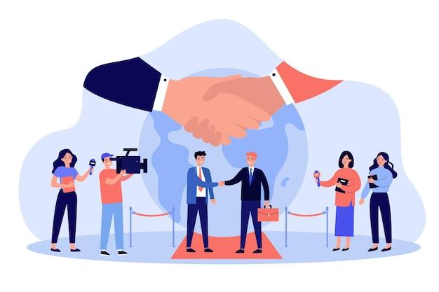 Politici komen bijeen voor het bespreken van economie, democratie, vrede of crisis. handdruk van politieke leiders