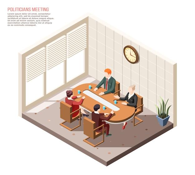 Politici tijdens gesprek tijdens bijeenkomst in isometrische samenstelling van de vergaderzaal