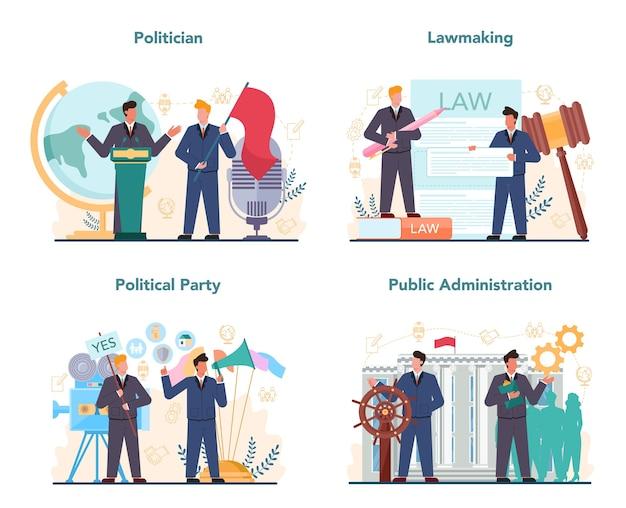 Politicus concept set. idee van verkiezing en regering. democratisch bestuur.