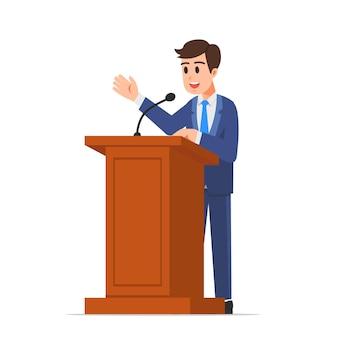 Politicus of zakenman die een toespraak houdt op het podium