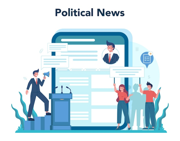 Politicus online service of platform set illustratie