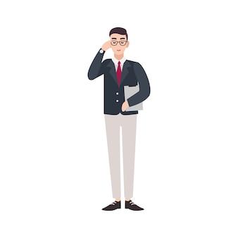 Politicus, overheidsmedewerker, ambtenaar, ambtenaar of afgevaardigde gekleed in een slim pak.