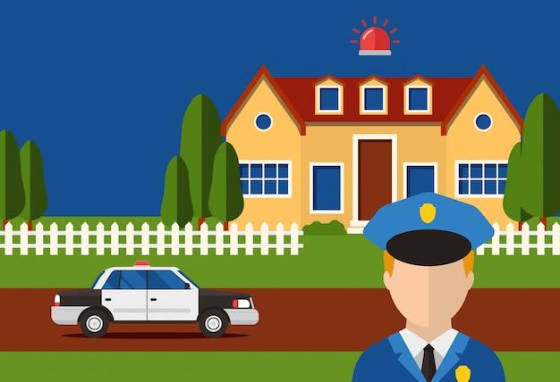 Politie actie beveiliging huis systeem inbraakalarm, e illustratie. automatiseringscontact met controledienst voor rapportagehuis