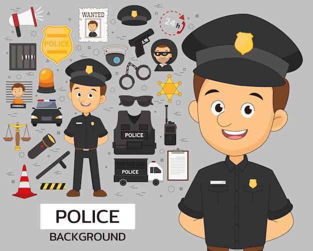 Politie afdeling concept achtergrond. platte pictogrammen.