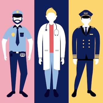 Politie, arts en militar man karakter