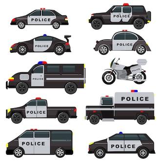 Politie auto noodbeleid voertuig vrachtwagen en suv auto patrouille en politiemannen motorfiets illustratie set van politieagenten vervoer en politie auto geïsoleerd op witte achtergrond
