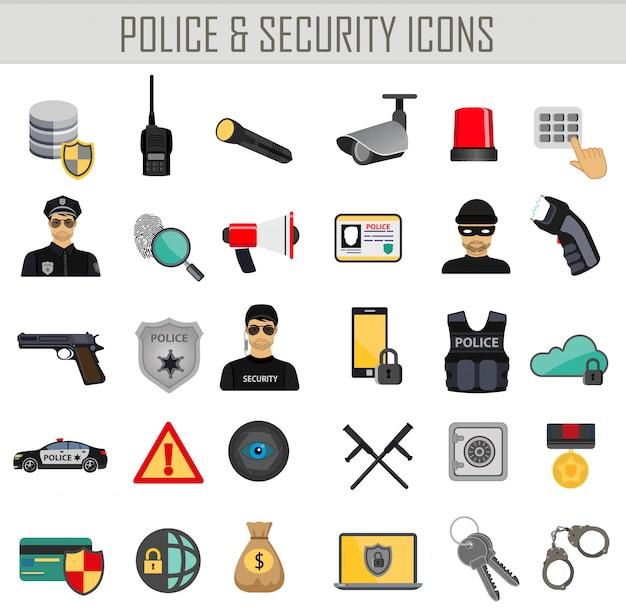 Politie beveiliging en misdaad pictogrammen