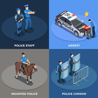 Politie concept icons set