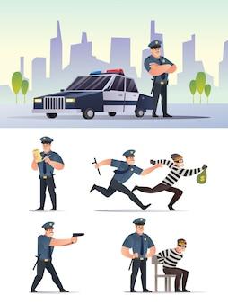 Politie en overvaller karakter met stad achtergrond set collectie cartoon