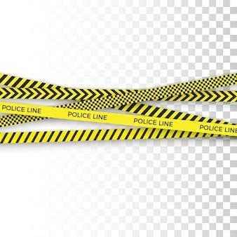 Politie gele tape. gevarenzone met lijnbarrière. waarschuwingsstrip.