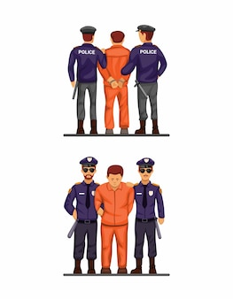 Politie handboeien criminele man voor- en achteraanzicht set. concept cartoon