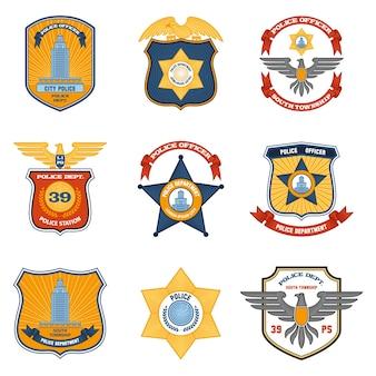 Politie-insignes gekleurd