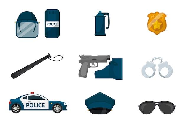 Politie items illustraties set patrouillewagen politieagent gouden badge pistool cap handboeien en tinten